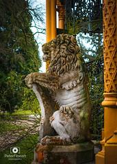 Statue of Lion, Hluboka nad Vltavou, Czech Republic (PeterFineart) Tags: castle architecture cz czech czechphoto nikoncz nikon nikonistas bokeh daylight visitcz travel travelphoto castles historic moody autumn fall rainy country city hluboka bohemian south lion statue