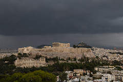 Acropolis Storm (mopics347) Tags: storm cloud dark acropolis athens greece canon 70d outdoor landscape history historic marble ancient ruin ruins trees green white yellow famous