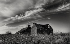 she got the best of me...than she broke my heart... (BillsExplorations) Tags: abandonedillinois abandonedfarm broken dilapidated old blackandwhite monchrome farm ruraldecay ruraldeterioration country damaged field sky clouds