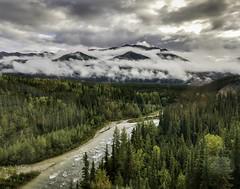 Leaving Denali . . . (Dr. Farnsworth) Tags: train scenery rain fog sunshine river bridge denali ak alaska fall august2018
