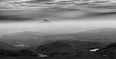 Smoke and Haze (pablo_blake) Tags: mounthood mtjefferson oregon trilliumlake smoke mono bw pacificnorthwest mthood haze mountains