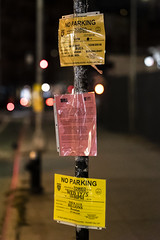 Filming everywhere now. There are other cities, go film them, eh? (wwward0) Tags: cc filmshoot manhattan night noparking nyc outdoor soho text warning wwward0