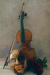 SL071118 Violin and Mask 01.jpg (Sh4un65_Artistry) Tags: digitalart topazimpression mask flowers plants topaz textured digitalpainting musicalinstruments artwork stilllife painterly paintedphoto painteffect photoboards®