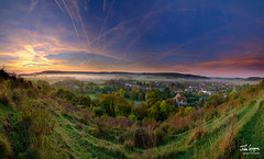 JHG_GFX50s-012672-Pano.jpg (Julian Gazzard) Tags: grass autumn saints color church nature dawn panorama background early colour morning downs parish scenic dew outdoors doomsday village uk view water mist trails park east spire damp con sky south autumnal butser noperson cold clear sun backlit national silhouette fall travel meon landscape hampshire stitched fog light all hill mountain