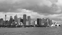 Sydneyscape (Mondmann) Tags: cityscape skyline sydney australia clouds overcast buildings architecture nsw newsouthwales monochrome panorama bw blackandwhite pb travel mondmann fujifilmxt10