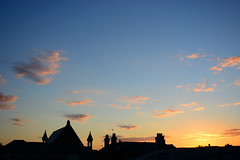 Sunrise Over Sandown (Inner Vision Productions) Tags: dawn daybreak morning good britain british roof rooftops rise rising warm orange glow glowing nikon d5200 silhouette outline contrast cloud cloudscape simple simplicity innervision summer mattblythe photography church spire inspirational sun waking awakening peace tranquility firstlight