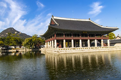 Gyeongbokgung (Synghan) Tags: gyeongbokgung palace royal pond lake architecture building builtstructure exterior house reflection seoul travel destination attraction landmark local regional sky cloud clouds fall autumn asia eastasia korea korean famousplace calm tranquility peace mountain mound pillar column day daylight imperialpalace ancient canon eos80d 80d sigma 1770mm f284 dc macro lens gyeonghoeru roof eaves oldstyle antique resting 경복궁 경회루 서울 한국