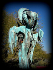 """St. Earth"" – Desert Botanical Garden, Papago Park, Phoenix, Arizona (8) (milomingo) Tags: outdoor dbg desertbotanicalgarden phoenix arizona southwest desert arid garden park statue art bronze stearth statuary gardenart walkingfigure robertwick texture blue patina verdigris"