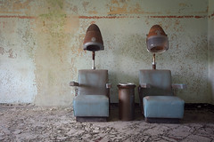 ...sitting pretty... (Art in Entropy) Tags: abandoned state hospital asylum salon chair hair urban decay grime creepy sony explore exploration adventure