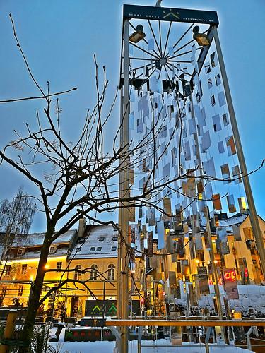 Modern New Year tree of Riga, capital city of Latvia. January 15, 2019