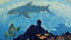 16 - Saint-Vallier (Bourgogne) - Sur le château  d'eau, Requin (melina1965) Tags: 2018 novembre panasonic lumix dmctz57 bourgogne burgondy saôneetloire saintvallier streetart poisson poissons fish fishes