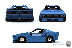 80's Supercar front back n sides - Miniland scale - Lego (Sir.Manperson) Tags: lego moc 80s retro ldd render miniland