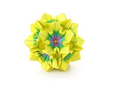 Kurbisblute (Pumpkin Flower) by Irina Krivyakina (ronatka) Tags: kusudama modularorigami irinakrivyakina square harmonypaper birthday gift yellow green ef50mmf14usm inexplore