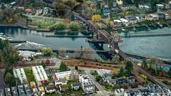 Seattle, WA: Railroad draw bridge crossing Salmon Bay near Ballard Locks (nabobswims) Tags: ballardlocks hdr highdynamicrange ilce6000 lightroom mirrorless nabob nabobswims photomatix sel18105g salmonbay seattle sonya6000 us unitedstates wa washington