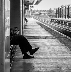 Track G (John St John Photography) Tags: streetphotography candidphotography trackg secaucusjunction secaucus nj njtransit commuters men crossedlegs station platform railroad railroadtracks train approaching bw blackandwhite blackwhite blackwhitephotos johnstjohnphotography
