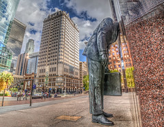 The Statue of That Guy With His Head in a Building (Michael F. Nyiri) Tags: losangeles california southerncalifornia urban corporatehead art artwork publicart dtla downtownlosangeles