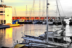 Port Olímpic - Sunset (Fnikos) Tags: port porto puerto harbour city architecture tower sea water waterfront reflection marine marina sky skyline ship boat sailboat cloud sunset outdoor
