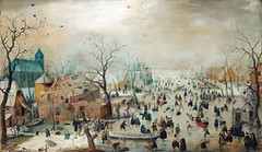Winter Landscape with Ice Skaters (sjrankin) Tags: 23december2018 edited museum rijksmuseum art fineart historic winter seasonal c1608 skaters winterscene clouds cold hendrickavercamp