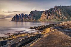 Landscape Tungeneset Senja (Helmut Wendeler aus Hanau) Tags: norway senja tungeneset sunset longexposure mountain rocks