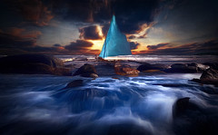 Sunset At The Beach (jarr1520) Tags: sunset outdoor seascape dusk sun clouds composite textured ocean sea shore rocks boat sail water
