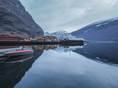 Magic Mirror 幻鏡 (cyangLtravel) Tags: reflections lake fjord hill sky boat pier landscape nature peaceful