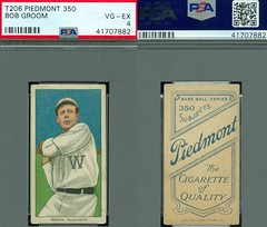 1909-11 / T206 White Border - BOB GROOM (Pitcher) - Washington Senators (PSA Certified) (1910 / Piedmont 350 / Factory 25 Back) Tobacco / Cigarette Baseball Card (#192) (Treasures from the Past) Tags: t206 tobaccocard tobacco 1909 1911 cigarette cigarettecard americantobaccocompany whiteborder whiteborderset baseballcard lithograph whiteborderbaseballset t206baseballset bobgroom washingtonsenators pitcher psacertified