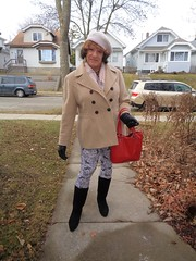The Old Lady Is Ready! (Laurette Victoria) Tags: coat scarf gloves hat purse leggings boots laurette woman