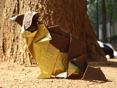 Cat (Rohit KO) Tags: origami papercraft katsuta kyohei rohit ko deluxe washi paper brown cat