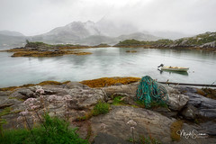 Ready for fishing (marko.erman) Tags: lofoten norway reine fredvang e10 nordland landscap landscape mist misty fog foggy mood moody sea fjord water reflections quiet serene serenity beautiful morning sony rocks mountains moss boat fishing