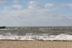 Goin' Fishin' (eyriel) Tags: bay delawarebay nature wind wild wave waves boat surf beach sand
