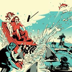 Illustration for «The Hollywood Reporter» magazine (depingo.ru@gmail.com) Tags: fish shark splash filming sea cameraman sound illustration