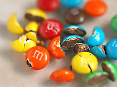 Candy Crush (Through Serena's Lens) Tags: 52weeksthe2019edition startingtuesdayjanuary week32019 macromondays picktwo macro damaged candy colorful mm's sweet tiny tabletop miniature bright dof canoneos6dmarkii