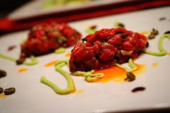 Beef tartare with avocado coulis (corineouellet) Tags: colors plating focus cooking cook foodie foodies yumyum yummy tasty good foodphoto food avocado beeftartare tartare beef
