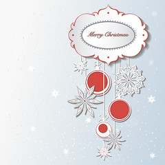 Christmas decoration with snowflakes (heliga3333) Tags: abstract background ball blue card celebration christmas creative december decor decoration decorative design elegant eve festive gift graphic greeting holiday icon illustration image isolated merry modern new ornament circle banner blank message page paper sale sample red
