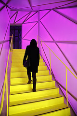 (cherco) Tags: canon composition composicion city ciudad chica colour calle color woman pink yellow up stairs museum future canoneos5diii silhouette silueta person lines lineas geometry geometría alone lonely