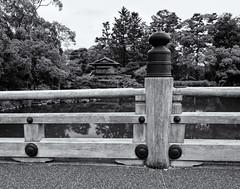 The bridge and the tea house (Tim Ravenscroft) Tags: bridge rail pond tea house teahouse gosho palace gardens kyoto japan monochrome blackandwhite blackwhite hasselblad hasselbladx1d