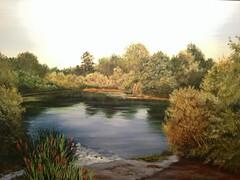 River Mreznica, Croatia (Mirjana Dolenčić - Painter) Tags: art artwork oiloncanvas artist colours grass tree river water landscape