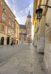 Krakow, Poland, Old Town (Cat Girl 007) Tags: buildings city cityscape cracow decorated decoration europe flag historical holiday independence krakow morning national nopeople oldtown patriotic patriotism poland polish red remembrance street symbol vertical