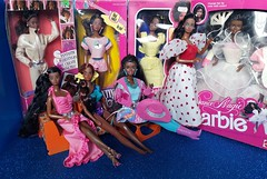 My beautiful AA dolls 😍💙 (Lo_zio87_Barbie Collector) Tags: african american vintage barbie aa maledollcollector twirly curl super hair tropical funtime western fun 1989 1987 1985 steffie magic