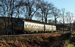 Class 101 Glint Near Oxenhope. (Neil Harvey 156) Tags: railway class101 m51189 sc51803 stives oxenhope keighleyworthvalleyrailway kwvr firstgenerationdmu dmu multipleunit brgreen metropolitancammell glint