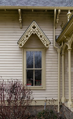 Window, Brown–Neff House (Clifford Place) — Gambier, Ohio (Pythaglio) Tags: house dwelling residence historic gothicrevival highstyle opulent ornate 15story frame woodsiding bargeboards tracery scrollwork 22windows doorway knoxcounty kno20416 gambier ohio unitedstates us brown neff cliffordplace 1859