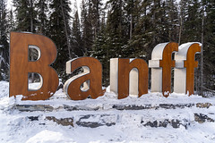 Banff, Alberta Canada - Janurary 17, 2019: Welcome sign for Banff townsite, located in the Canadian Rockies inside of Banff National Park (m01229) Tags: rock nature glacier snow trees summer national road tree peak banff outdoors canada canadianrockies view sky lake landscape winter range clouds nationalpark mountains highway outdoor landscapes forest scenic cold canadian rockies blue parkway scenery beautiful travel cloud alberta rocky trip park sign tourism wilderness mountain