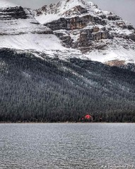Simpson's Num-Ti-Jah Lodge on the shore of Bow Lake in the Canadian Rockies, Alberta (PhotosToArtByMike) Tags: bowlake simpsonsnumtijahlodge numtijahlodge banff banffnationalpark bowriver icefieldsparkway westernalberta canadianrockies albertacanada mountain mountains forest snow