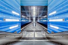 Underground Hamburg (Karsten Gieselmann) Tags: 714mmf28 blau em5markii farbe germany hdr mzuiko microfourthirds olympus türkis ubahn ubahnstation blue color kgiesel m43 mft subwaystation überseequartier hamburg deutschland