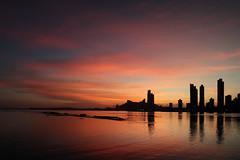 Panama City (FX-1988) Tags: panama city sky line skyline urbanscape waterscape reflection sunset dawn red orange golden hour skyscraper water ocean clouds landscape architecture