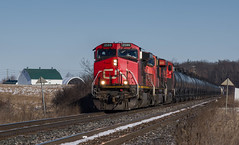 CN #385 approaching 1st Side Road (Glenn Courtney) Tags: 2569 385 c449w cn on ontario burlington canadiannational freight railroad railway tansley train