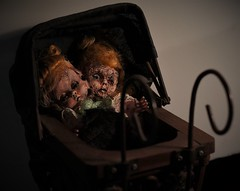 Horror doll experiment (Twila1313) Tags: doll twoheadeddoll horrordoll pram antiquebabycarriage dollcarriage dollbuggy babybuggy baby child horror creepy odd artdoll handpainted sonynex5n minolta50mmf20