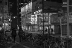 night street (Hideki Iba) Tags: night street osaka japan 58mm nikon d850 bw blackandwhite 白黒 黑白 bicycle sign