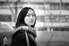candid.portrait (grizzleur) Tags: street female portrait eyecontact girl interior cold scarf pretty beau bokeh streetphotography candidphotography olympusomdem10mkii olympusm45mmf18 olylove olympus bw mono monochrome