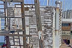 Waterfront Wear (sswj) Tags: weathered waterfront boatyard sausalito richardsonsbay marincounty sanfranciscobayarea northerncalifornia bay ladders wornpaint scottjohnson composition dslr fullframe nikon d600 nikkor28300mm weatheredbuilding abstractreality naturallight availablelight existinglight workingbarge metal rust